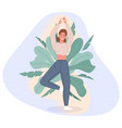 happy women stand on floor and meditating in yoga vector image vector image