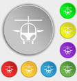 helicopter icon sign Symbol on eight flat buttons vector image