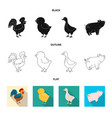 isolated object of breeding and kitchen logo set vector image vector image