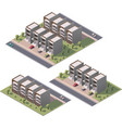 isometric townhouses set vector image