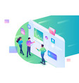 isometric young people stand and analyze data vector image vector image