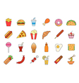 Junk food colorful icons set vector image vector image