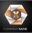 letter x logo symbol in the colorful hexagon on vector image vector image