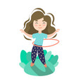 little girl doing exercise with hoop summer kids vector image vector image