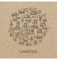 Logistic Sketch Icons vector image