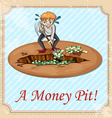 Man digging money pit vector image vector image