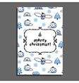 Merry christmas greeting card template with cute vector image vector image