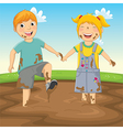 Of Kids Playing in Mud vector image vector image