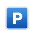 parking blue glossy sign on white background vector image