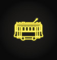 portuguese yellow tramway icon in glowing neon vector image