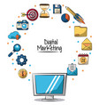 poster of digital marketing with lcd monitor in vector image vector image