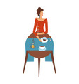 pretty lady in red is eating in a restaurant alone vector image