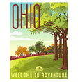 Retro style travel poster or sticker Ohio vector image