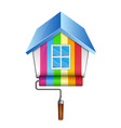roller with paint and house vector image vector image