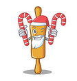 santa with candy rolling pin character cartoon vector image vector image
