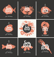 set banners for seafood restaurant or vector image