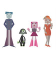 set charismatic robot family vector image