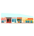 small town street cityscape flat style vector image vector image