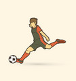 soccer player shooting a ball action graphic vector image vector image