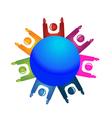 Teamwork 7 happy people logo vector image vector image