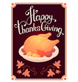 thanksgiving with golden roasted turkey and vector image vector image