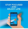 Travel concept smartphone make picture of airplane vector image