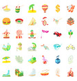 travelling icons set cartoon style vector image vector image