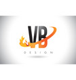vb v b letter logo with fire flames design vector image vector image