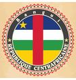 vintage label cards central african republic f vector image