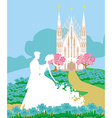 wedding couple in front of a church vector image vector image