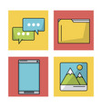 white background with colorful squares with icons vector image