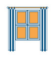 window in wooden with curtain color section vector image