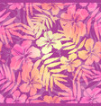 Yellow and pink tropic flowers seamless pattern