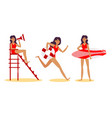 young brunette women beach lifeguards in red vector image vector image