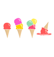 Set of four ice creams isolated on white vector image