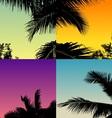 palm tree set with twilight sky vector image