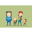 Family with backpacks Parents and kids hiking vector image