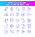 25 blue and pink futuro social communication icon vector image