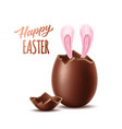 3d broken chocolate egg easter symbol vector image