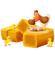 A hen with her eggs and chicks vector image