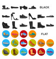 a variety of shoes flat icons in set collection vector image vector image