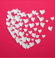 abstract white paper hearts on pink background vector image