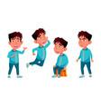 asian boy kindergarten kid poses set vector image vector image