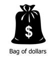 bag dollar icon simple black style vector image vector image