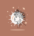 beautiful woman s face with sun beside her vector image vector image