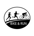 bike and run marathon runner oval retro black and vector image vector image