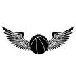 black silhouette basketball sport emblem vector image vector image
