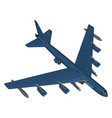 blue millitary airplane with missiles on white vector image