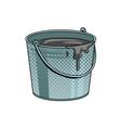 bucket with cement mortar pop art vector image vector image