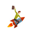 businessman on a rocket successful start up vector image vector image